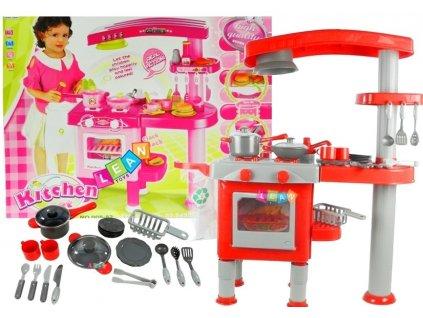 Velká kuchyně s troubou, myčkou nádobí a příslušenstvím růžová