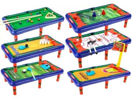 Herní stůl s výměnnými deskami 6 v 1