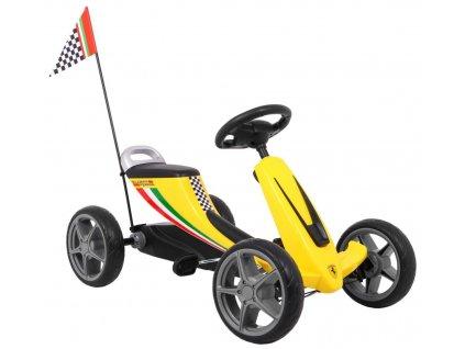Dětská šlapací motokára Ferrari žluté