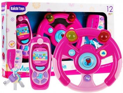 3 dílna hrací sada pro nejmenší - volant, mobil, klíče růžová