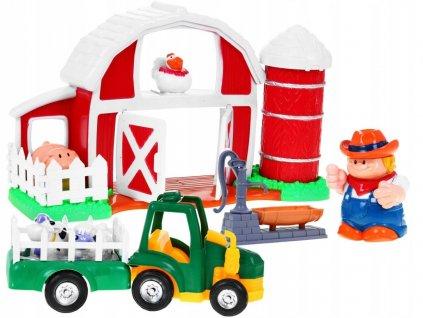 Velká farma pro malé farmáře, traktor + zvířatka a figurka1