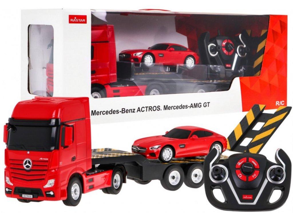 auto na dálkové ovládání mercedes benz actros červené (1)