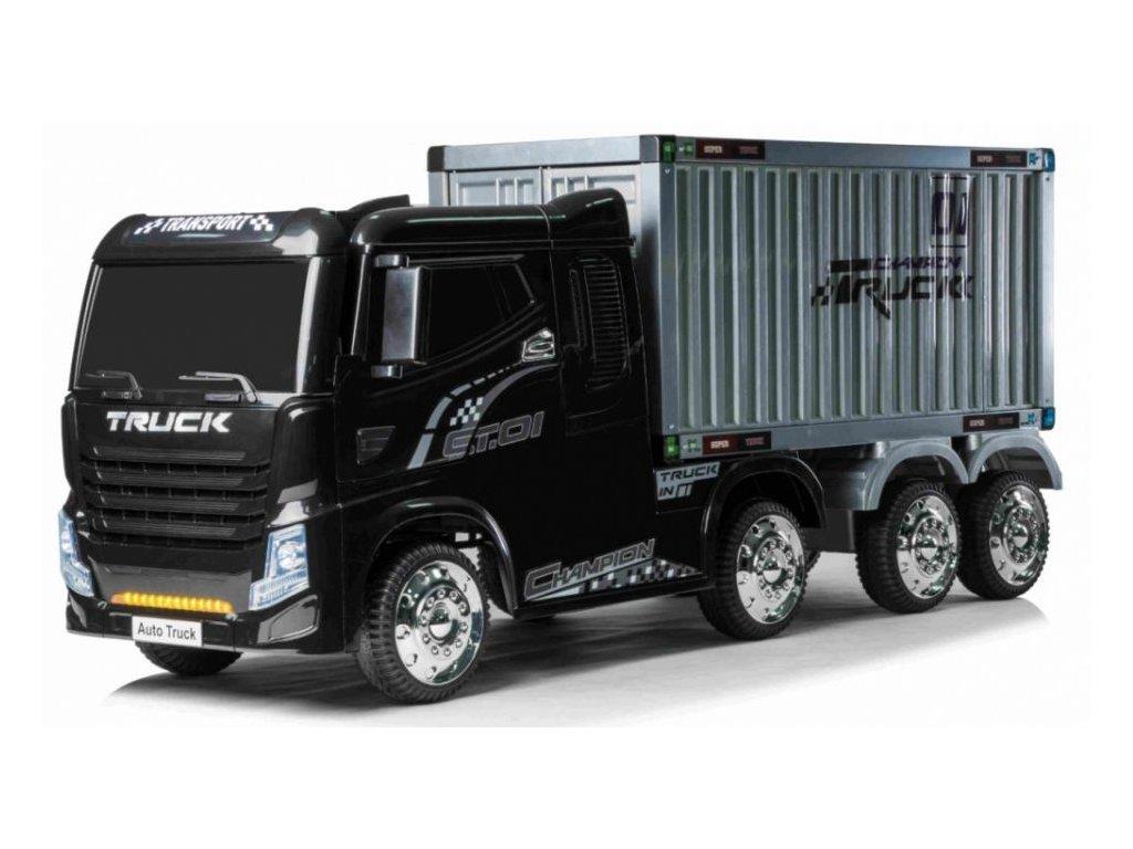 Dětské elektrické autíčko kamion s návěsem černé