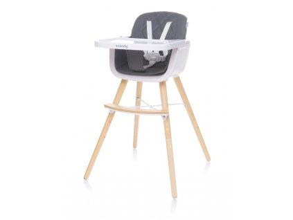 Jídelní židlička 4Baby Scandy XX tmavě šedá
