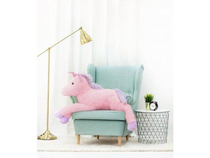 Plyšový jednorožec 125 cm růžový