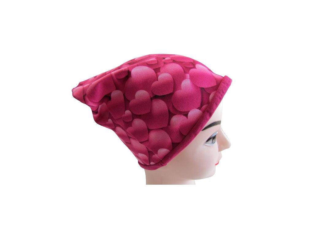 Srdce (tmavě růžová) - čepice