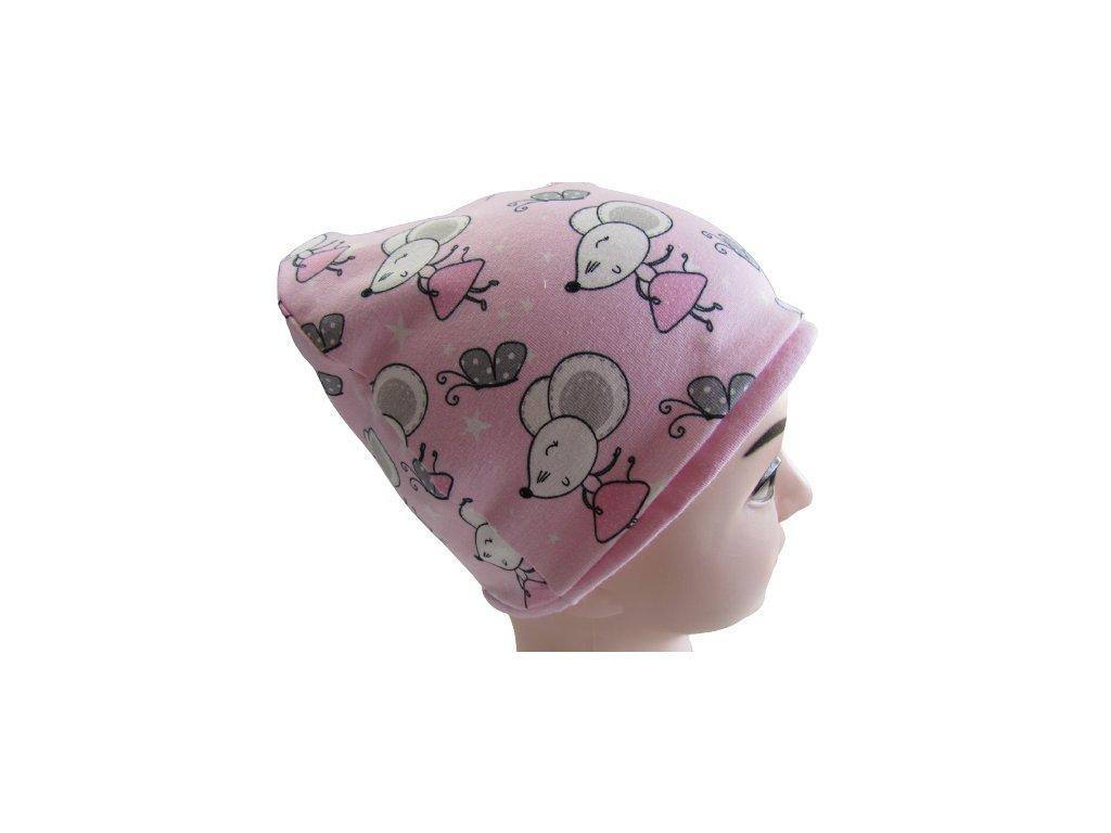 Myšky na růžové - čepice
