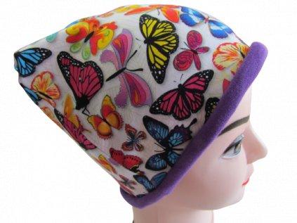 Barevní motýli (s fialovou) - čepice