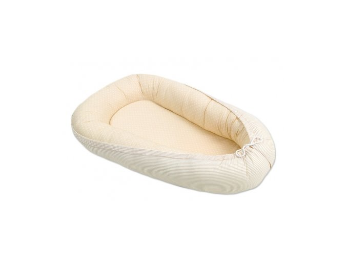 Oboustranné hnízdečko - kokon pro miminko Tečky béžové proužky béžové