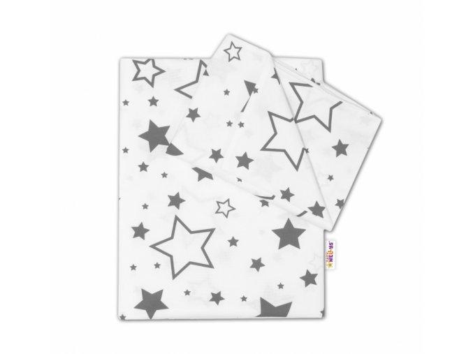 96555 158224 2 dilne bavlnene povleceni sede hvezdy a hvezdicky bily