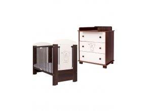 2-dílna sada detského nábytku Medvídek a motýlek ořechová