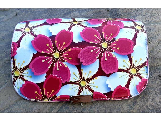 Vymeniteľný koženkový flap Kvety rúžovo-biele