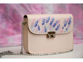 Rúžová kabelka -  ručne maľovaná