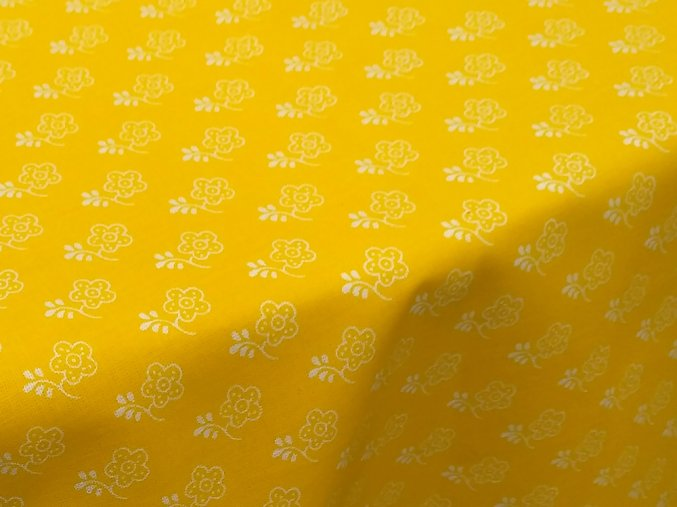 HANA 120 Chlupkal (208133-1-3 Květy bílo-žluté)-141cm / METRÁŽ NA MÍRU