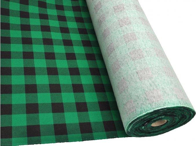 FLANEL 165 (K2 kostky velké černo-zelené) -160cm / METRÁŽ NA MÍRU