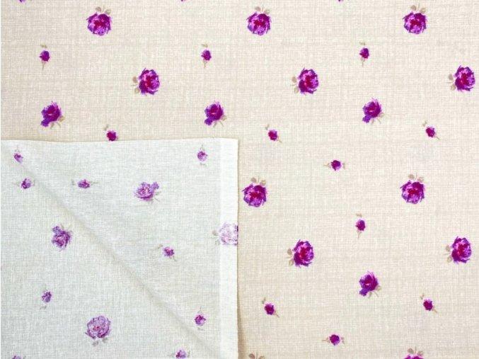 FLANEL 150 (13931-1 drobné květy fialovo-béžové) 150cm