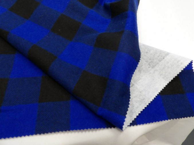 FLANEL 165 (K1 kostky velké modro-černé) -160cm / METRÁŽ NA MÍRU