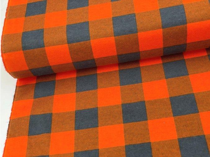 FLANEL 165 (K7 kostky velké oranžově-šedé) -160cm / METRÁŽ NA MÍRU
