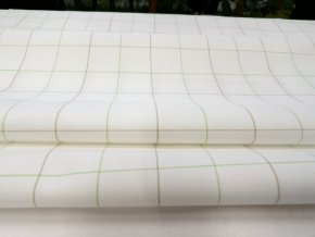 HALENA 115 (44401 Košilovina bílý podklad kostka zelená)-140cm / METRÁŽ NA MÍRU