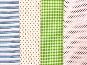 FLANEL 150 (14559-1 drobný vzor oranžový) 150cm / METRÁŽ NA MÍRU