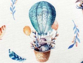 Bavlněný úplet zajíček v balónu, šířka 180 cm digitální potisk