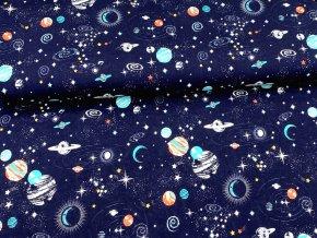 Bavlněný úplet Vesmír na tmavě modré, šířka 180 cm digitální potisk