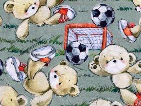 Bavlněný úplet Medvídek fotbalista, šířka 180 cm digitální potisk