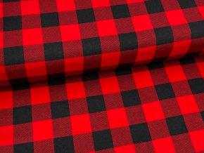 FLANEL 165 (K3 kostky velké černo-červené) -160cm / VELKOOBCHOD
