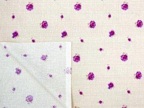 FLANEL 150 (13931-1 drobné květy fialovo-béžové) 150cm / VELKOOBCHOD