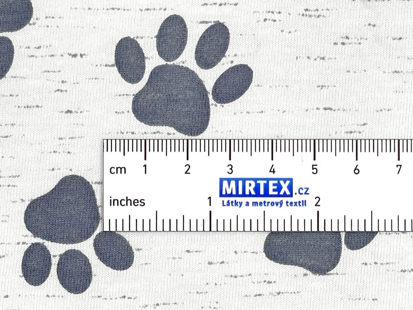 Mirtex Bavlněný úplet Psí stopy bílá šířka 196 cm Ceník: MALOOBCHOD: od 1 metrů