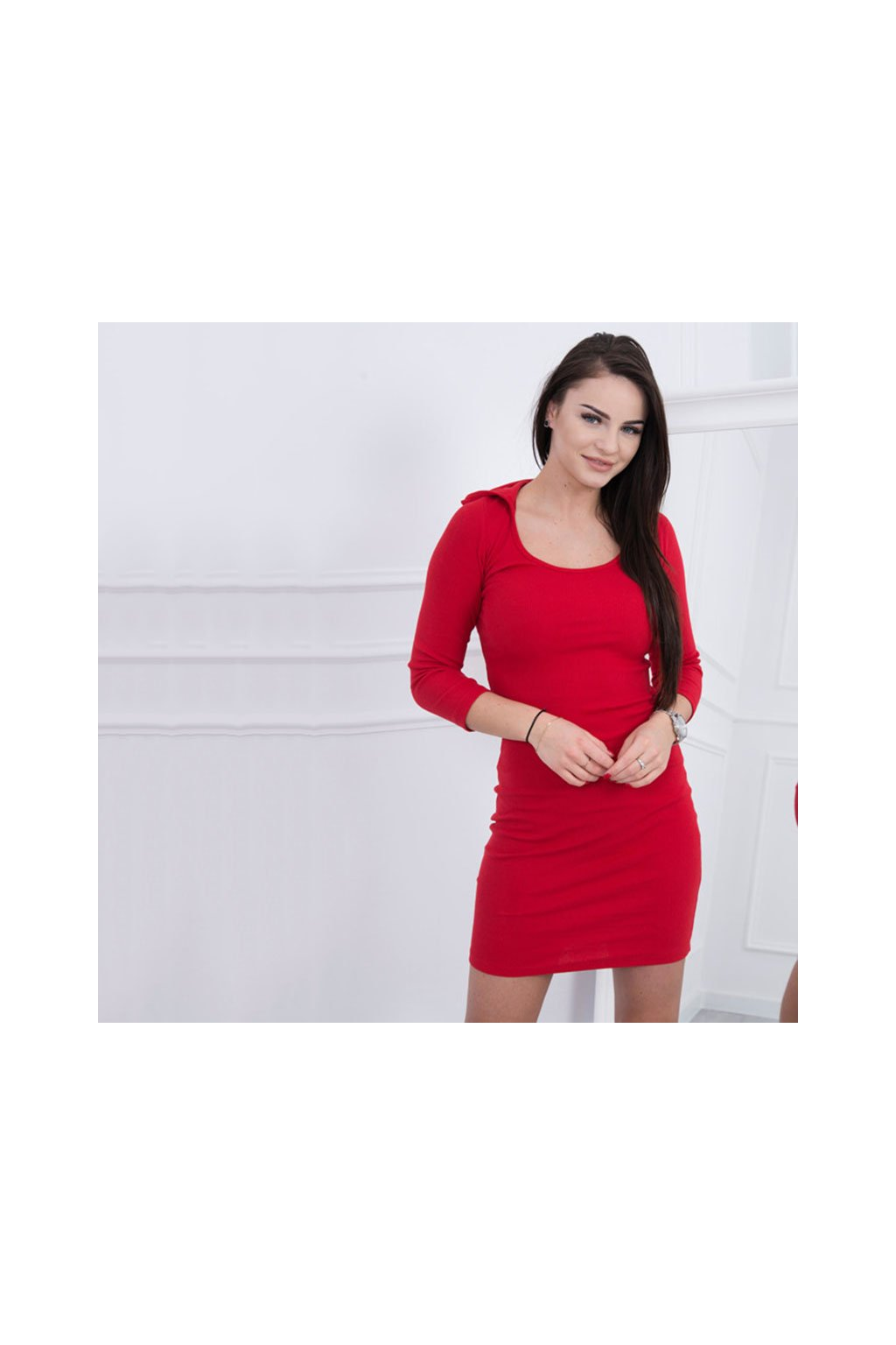 eng pm Lace up dress with a hood red 12025 3