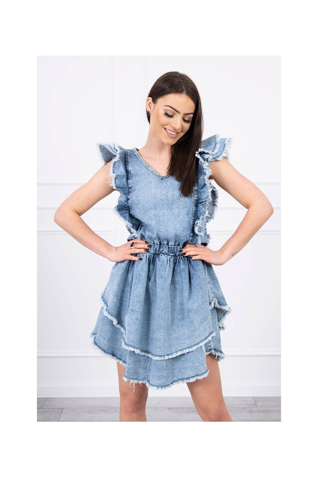 eng pl Stretch denim dress with double frill S M L XL 17376 4