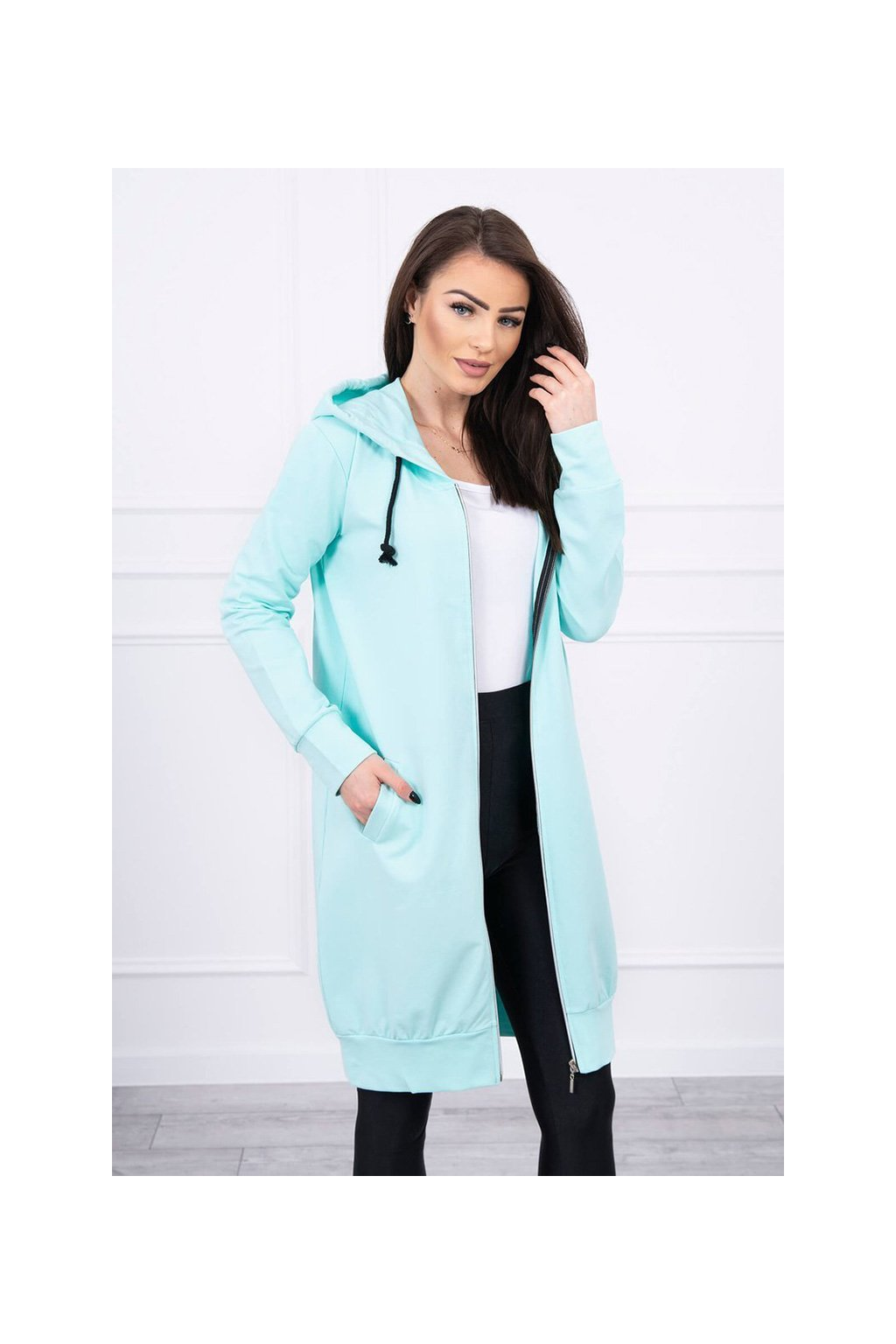 eng pl Hooded dress with a hood mint 17314 3
