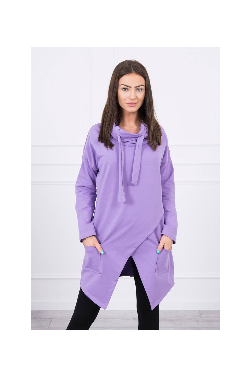 eng pl Tunic with envelope front dark Oversize purple 17453 2
