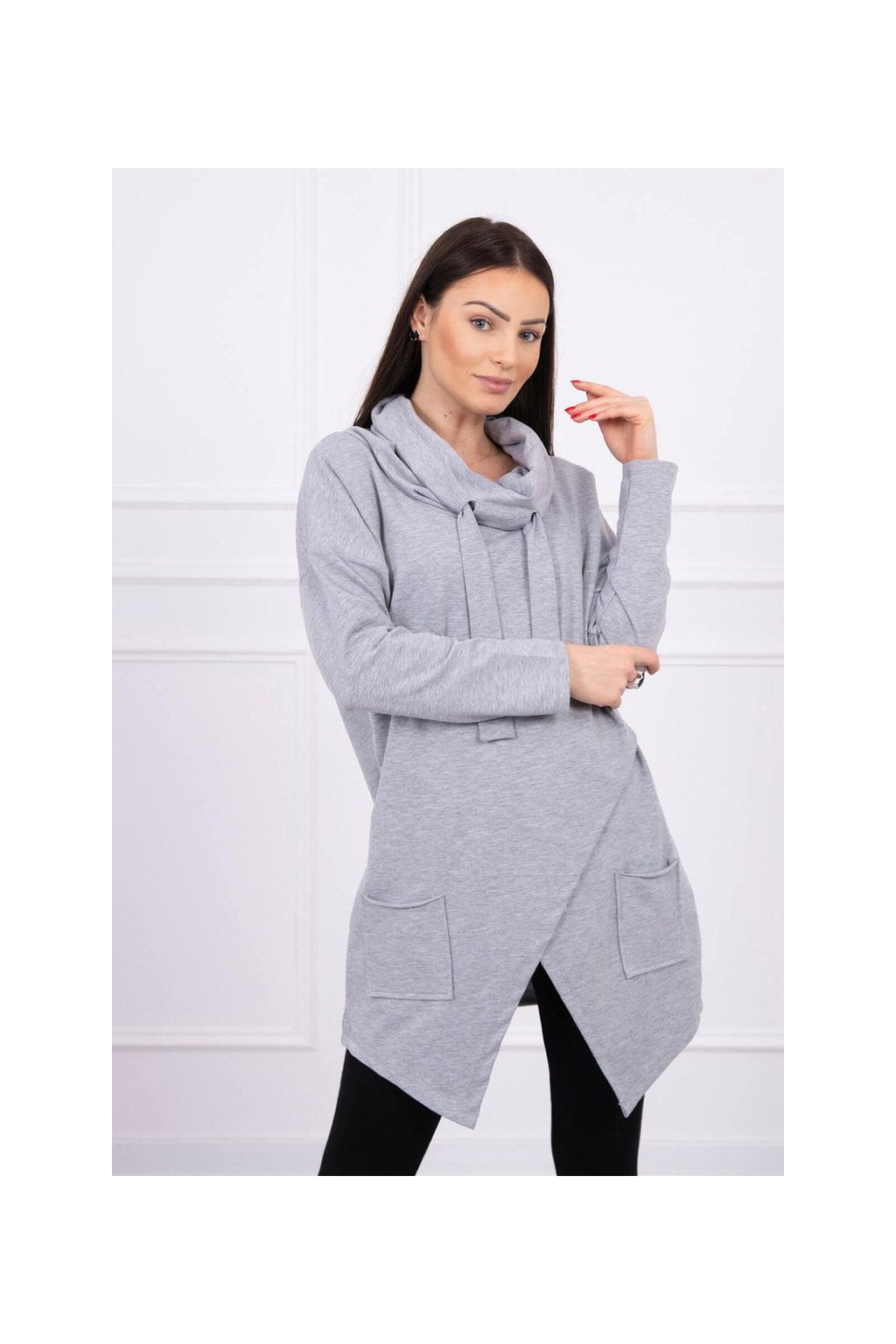 eng pl Tunic with envelope front Oversize gray 16228 2