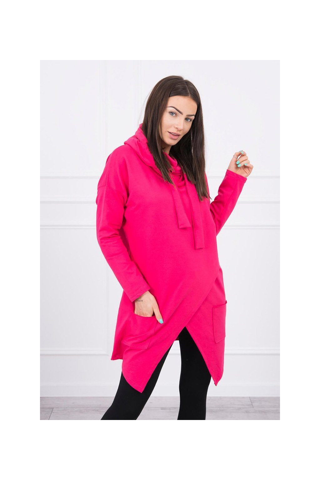 eng pl Tunic with envelope front dark Oversize fuchsia 17454 2