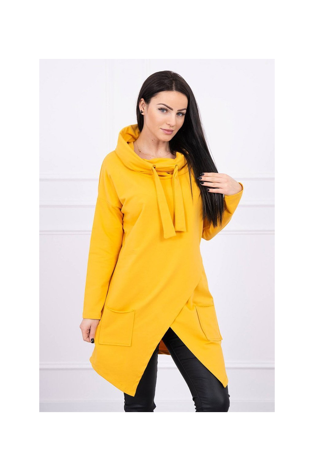 eng pl Tunic with envelope front Oversize mustard 16545 3
