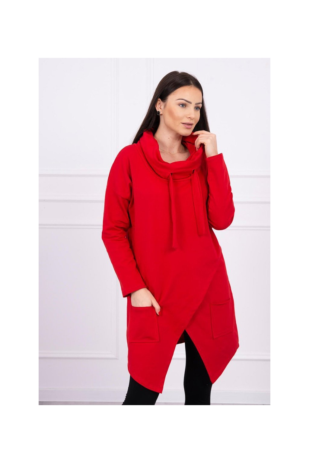 eng pl Tunic with envelope front Oversize red 16227 3