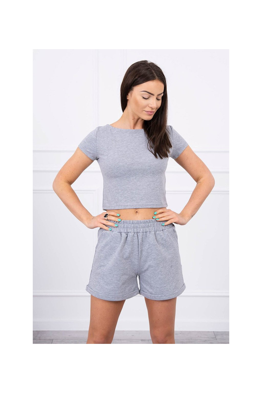 eng pl Cotton set with shorts gray 17464 3