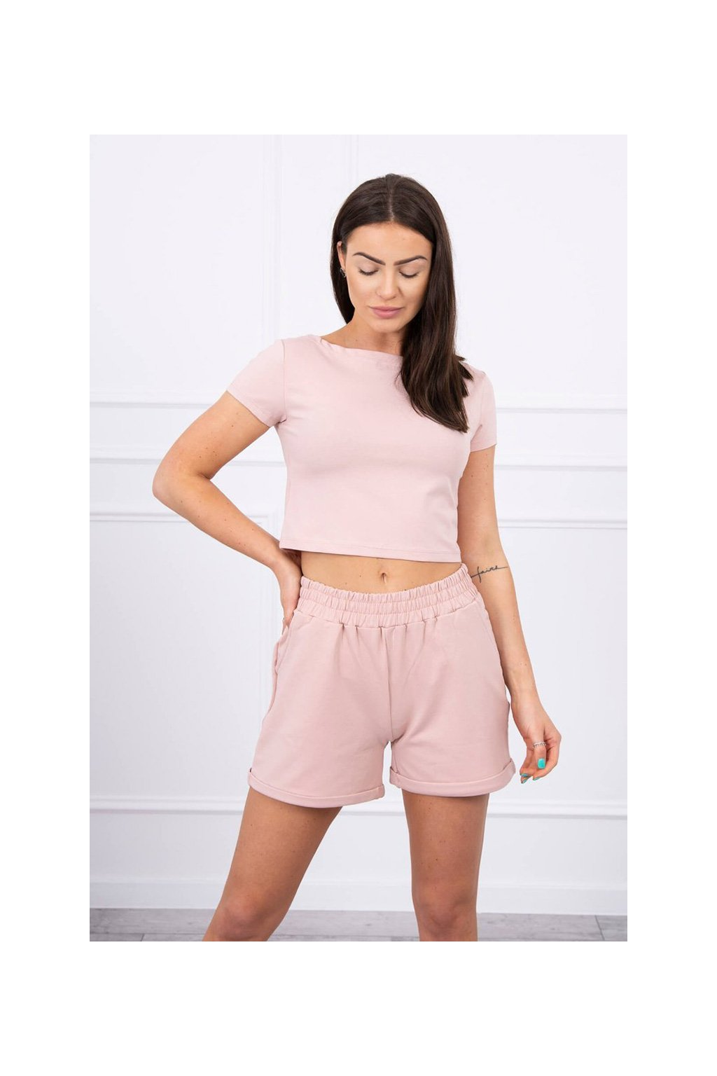 eng pl Cotton set with shorts dark powdered pink 17461 3