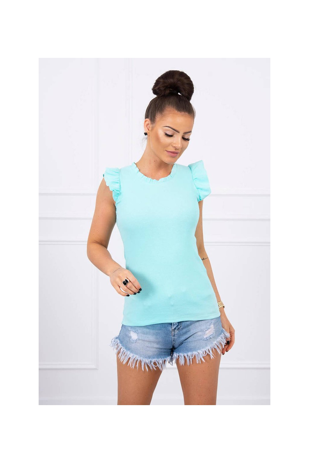 eng pl Blouse with frills mint 17588 1