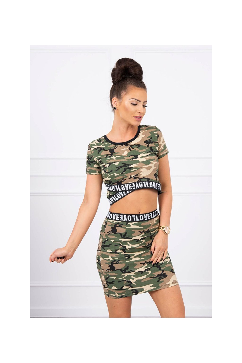 eng pl Set of blouses with a skirt camo khaki beige 17599 3