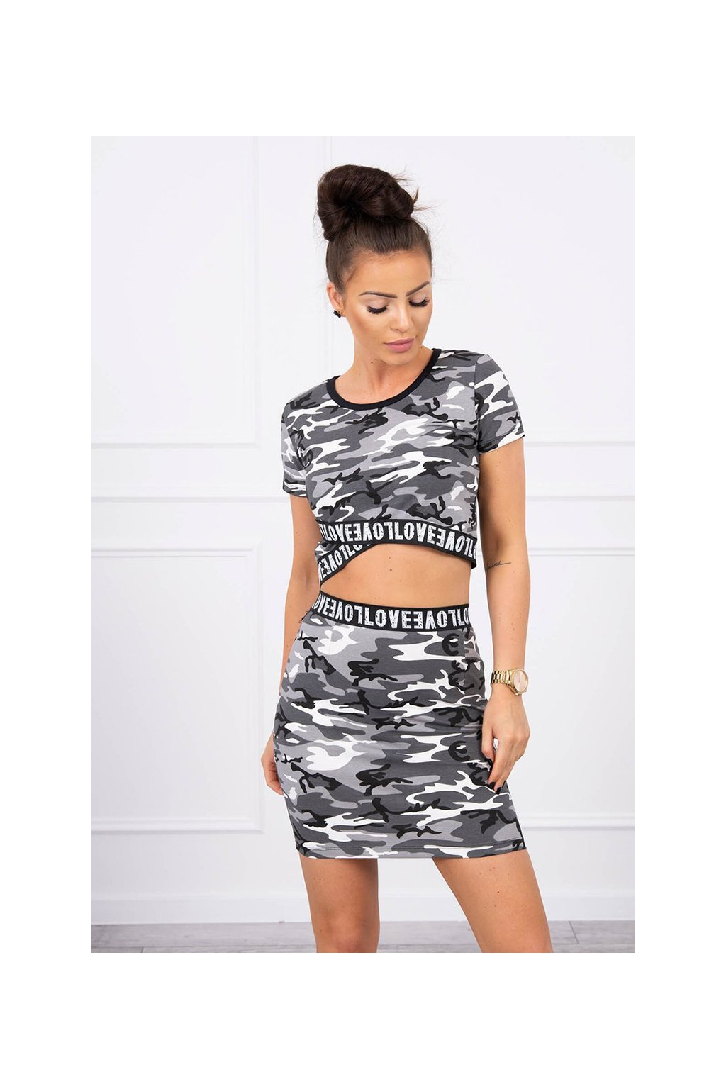 eng pl Set of blouses with a skirt camo gray black 17598 3