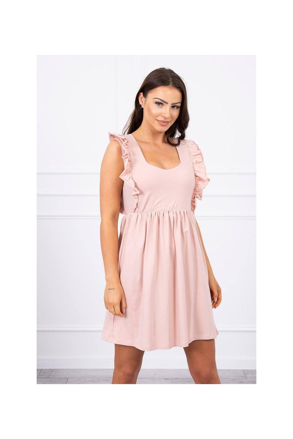 eng pl Dress with frills on the sides dark powdered pink 17659 2
