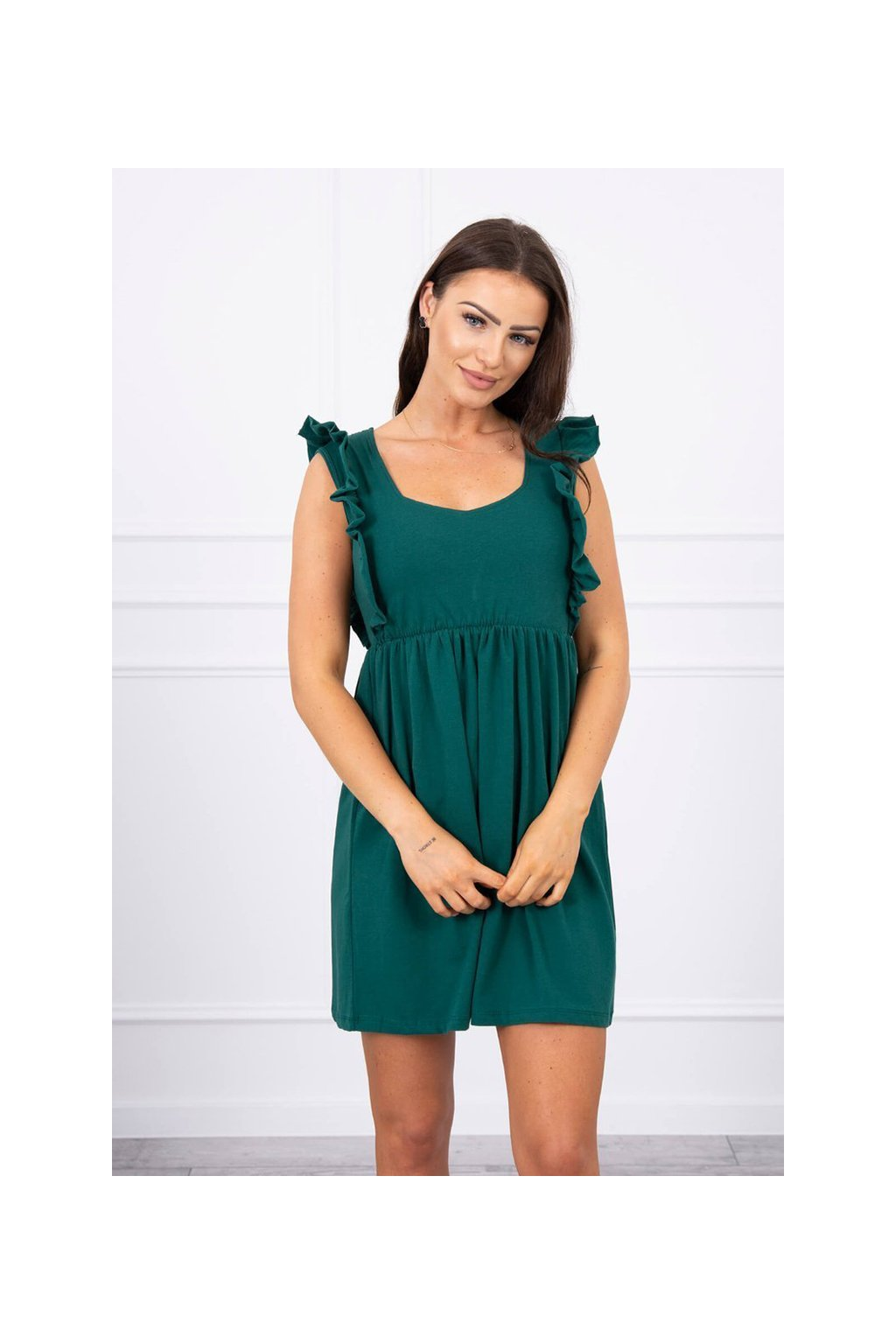 eng pl Dress with frills on the sides green 17657 2