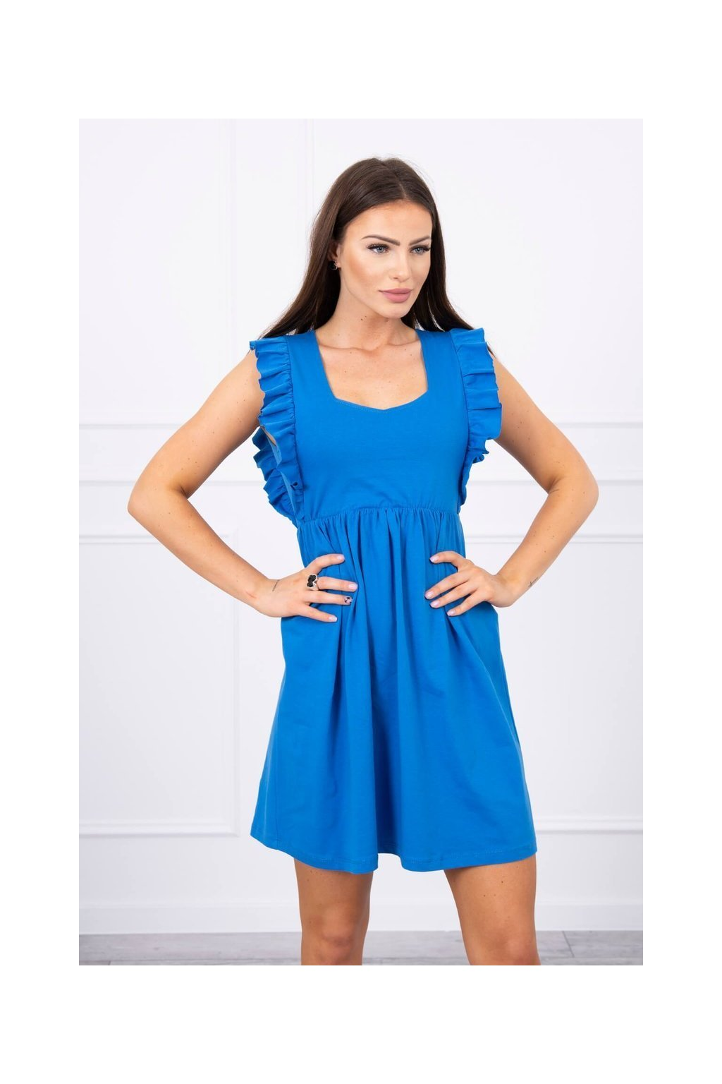 eng pl Dress with frills on the sides mauve blue 17656 3