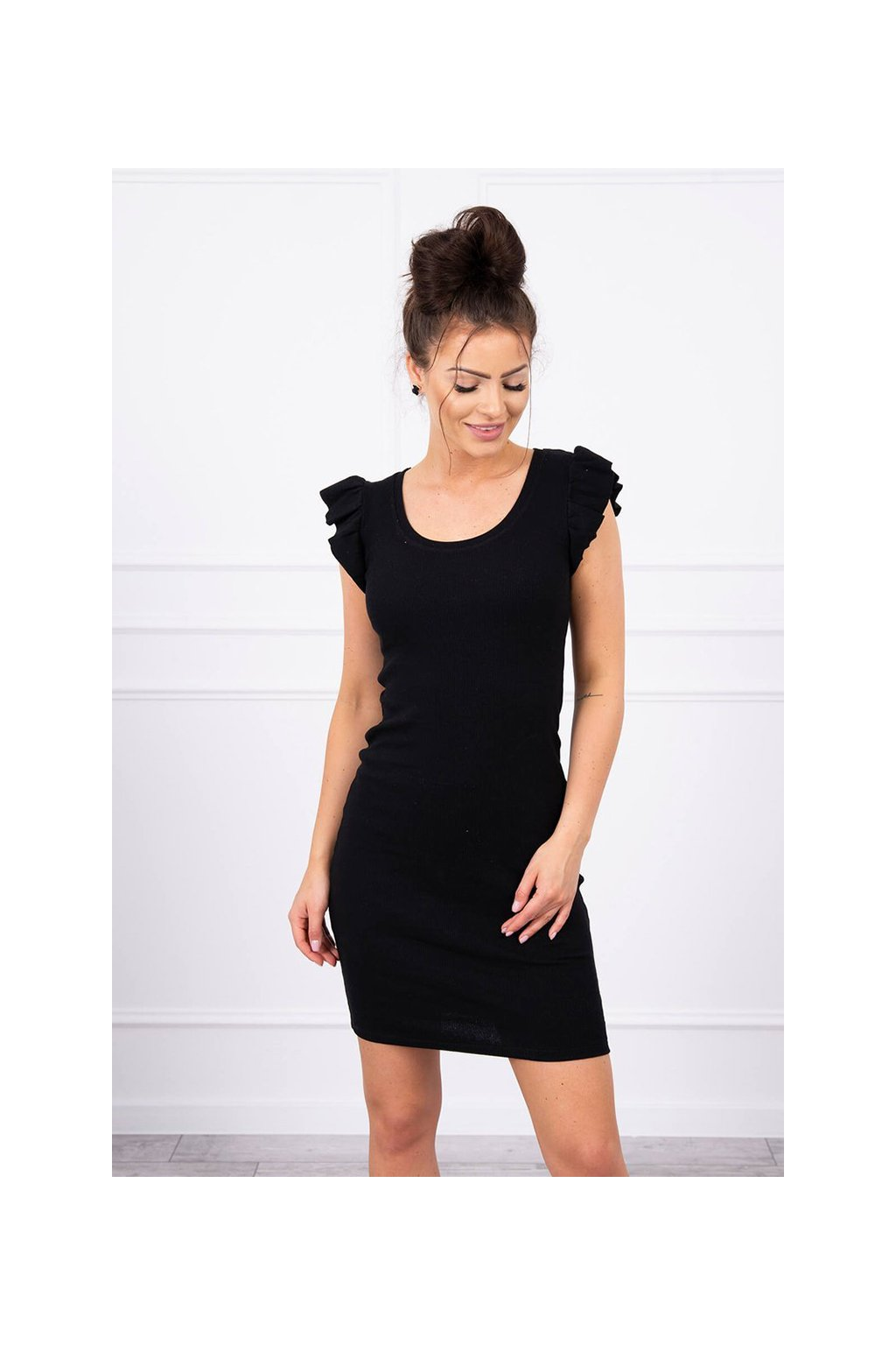 eng pl Dress with frills on the sleeve black 17619 3