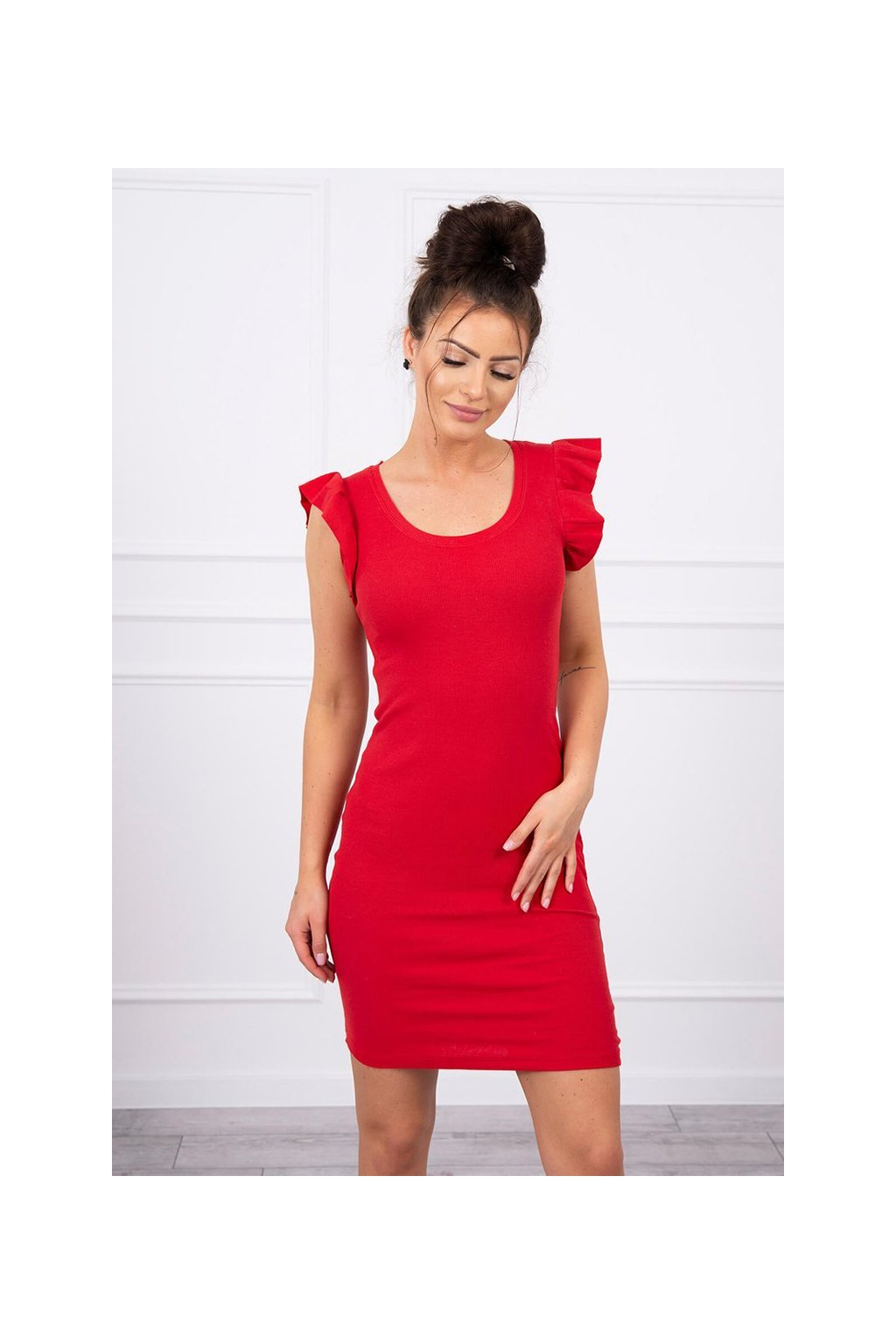 eng pl Dress with frills on the sleeve red 17611 4