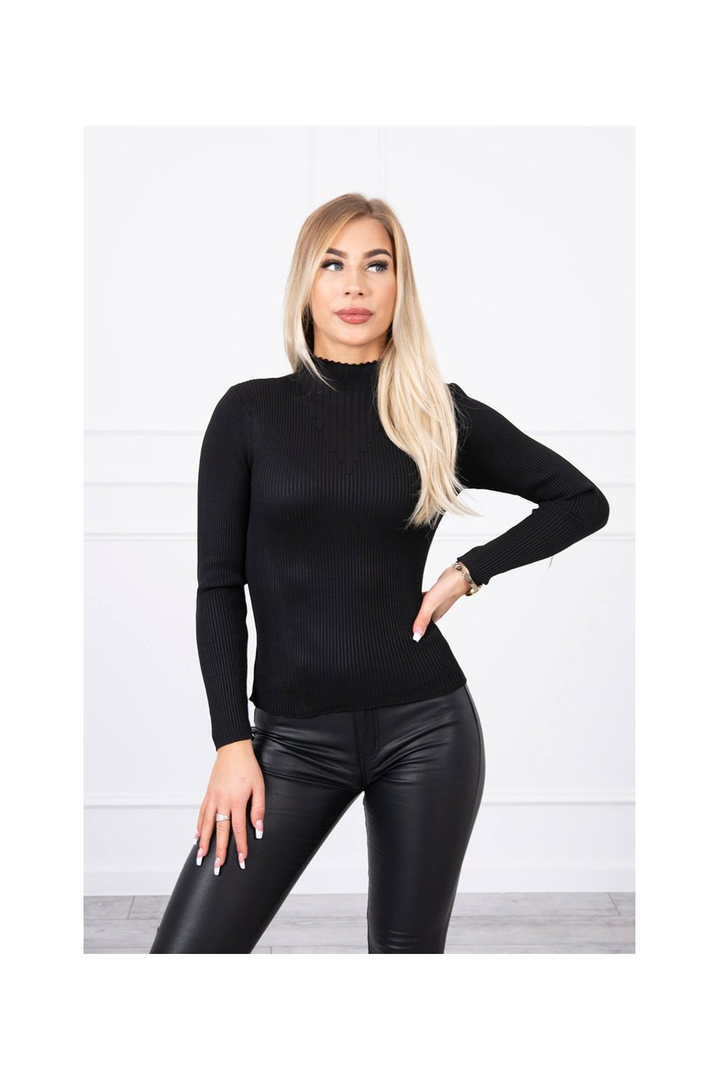 eng pl Thin ribbed sweater black 19133 4