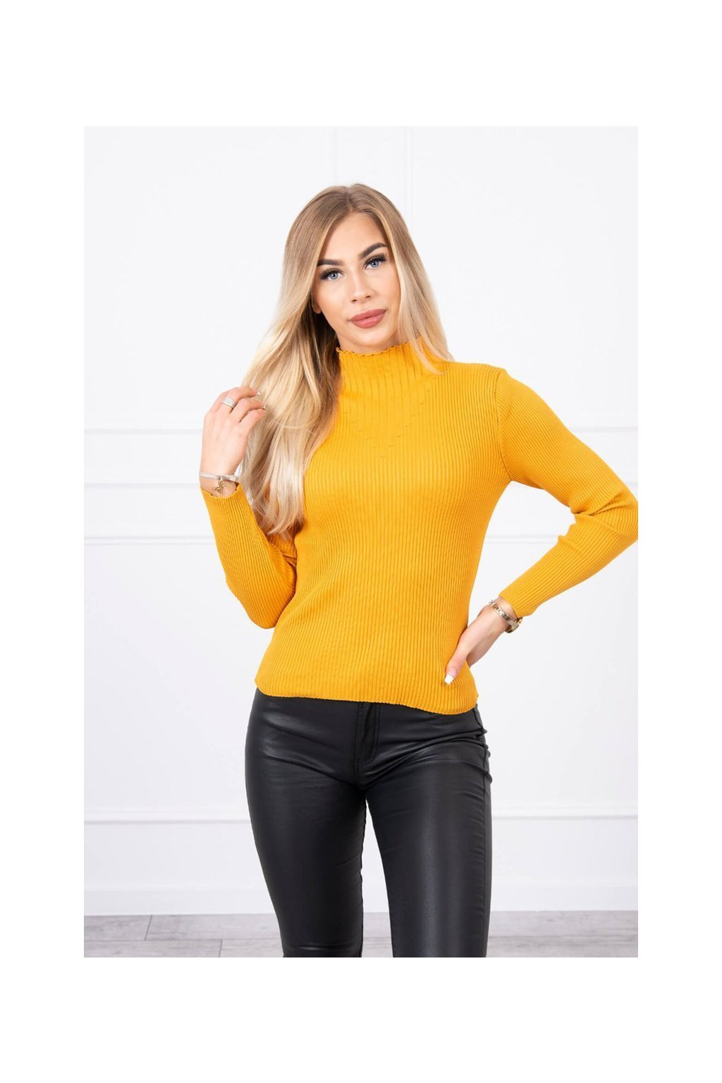eng pl Thin ribbed sweater mustard 19134 3